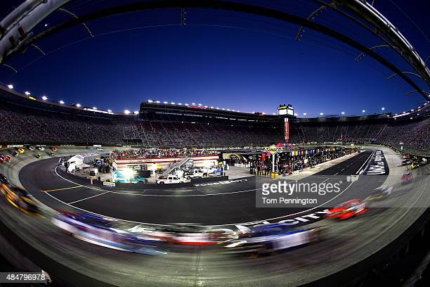 Cars race during the NASCAR XFINITY Series Food City 300 at Bristol Motor Speedway on August 21 2015 in Bristol Tennessee