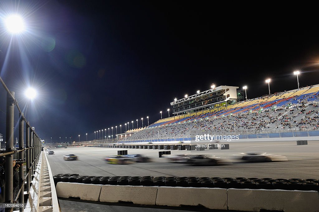 Cars race during the UNOH Battle At The Beach at Daytona International Speedway on February 18, 2013 in Daytona Beach, Florida.