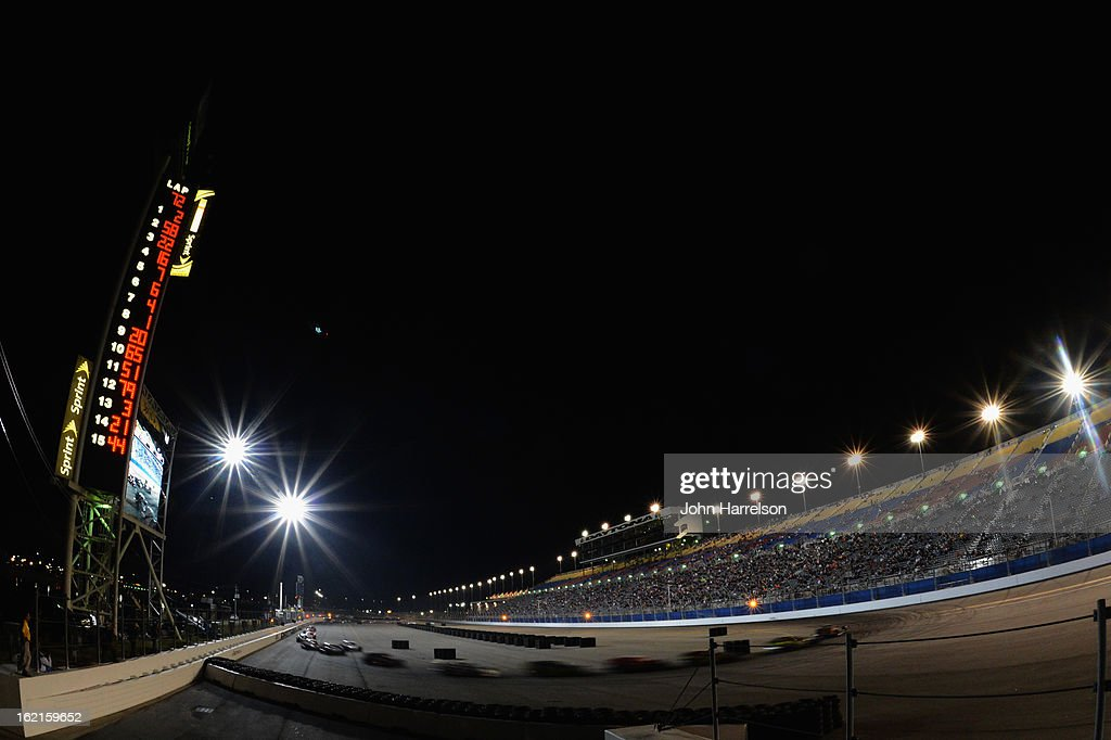 Cars race during the Whelen Modified Series UNOH Battle At The Beach at Daytona International Speedway on February 19, 2013 in Daytona Beach, Florida.