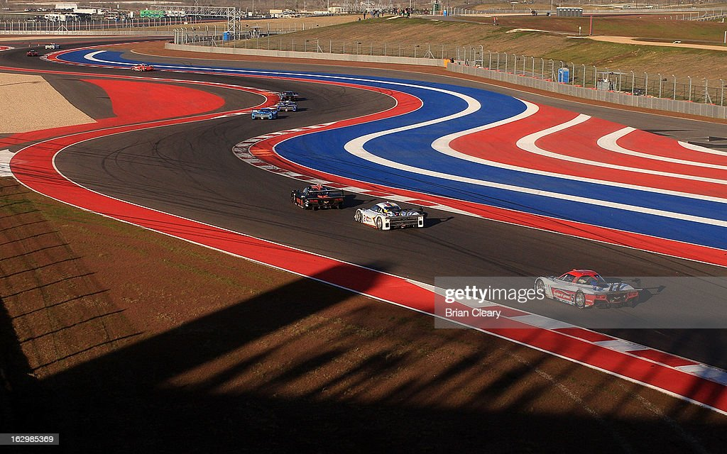 Cars race through the esses at the Grand-Am of the Americas at Circuit of The Americas on March 2, 2013 in Austin, Texas.
