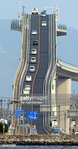 Cars run the Eshima Ohashi bridge on January 28 2014 in Matsue Shimane Japan