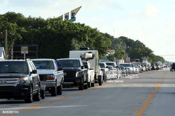 Cars sit in traffic as they evacuate heading North on Overseas Highway in the Florida Keys on Septeber 5 2017 in Islamorada Florida Residents are...