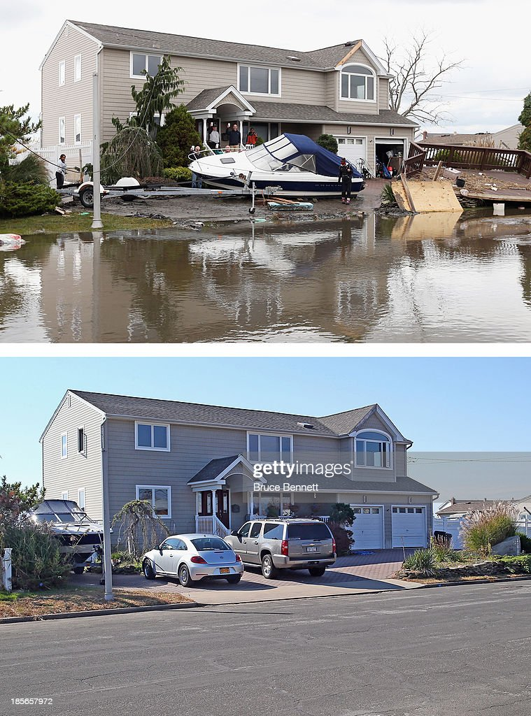 Residents of West Lido Boulevard take a break during cleanup operations following Hurricane Sandy on October 31, 2012 in Lindenhurst, New York. The storm has claimed many lives in the United States and has caused massive flooding across much of the Atlantic seaboard. LINDENHURST, NY - OCTOBER 22: (bottom) Cars sit parked in a driveway of a home on West Lido Boulevard October 22, 2013 in Lindenhurst, New York. Hurricane Sandy made landfall on October 29, 2012 near Brigantine, New Jersey and affected 24 states from Florida to Maine and cost the country an estimated $65 billion.