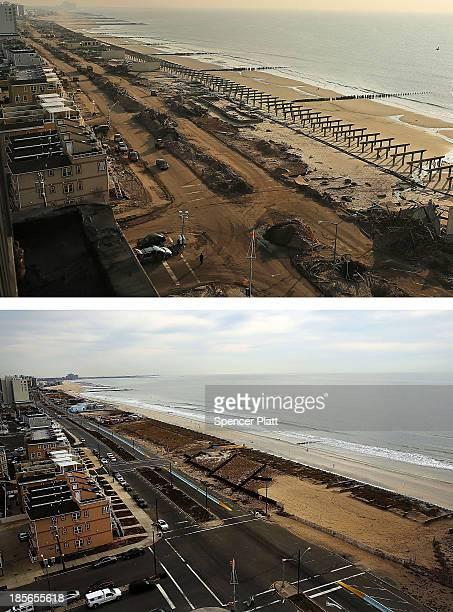 Cleanup continues among piles of debris where a large section of the iconic boardwalk was washed away November 10 2012 in Rockaway neighborhood of...