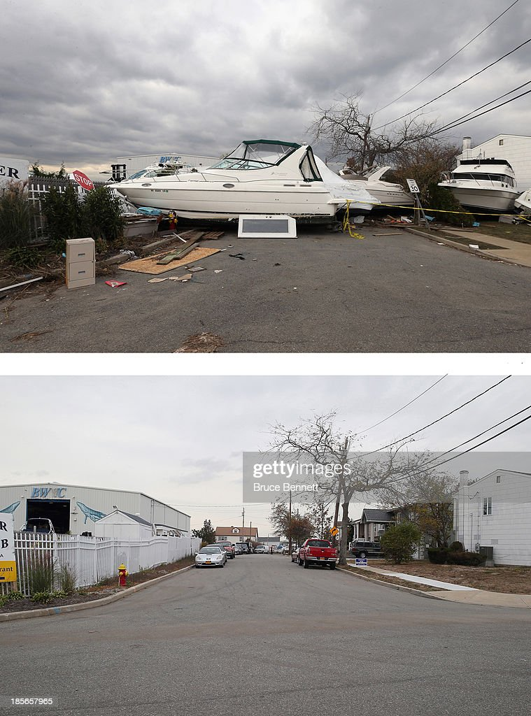 A boat from the Blue Water Club blocks Whaleneck Drive in the aftermath of Superstorm Sandy on November 1, 2012 in Merrick, New York. Superstorm Sandy, which has left millions without power or water, continues to effect business and daily life throughout much of the eastern seaboard. MERRICK, NY - OCTOBER 22: (bottom) Cars sit parked on Whaleneck Drive, which had been littered with boats after Superstorm Sandy on October 22, 2013 in Merrick, New York. Hurricane Sandy made landfall on October 29, 2012 near Brigantine, New Jersey and affected 24 states from Florida to Maine and cost the country an estimated $65 billion.