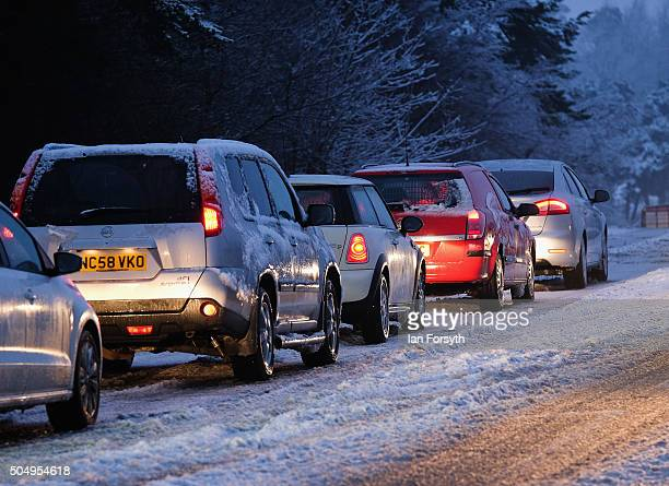 Cars struggle on their morning commute on the A171 road after snowfall over night on January 14 2016 in Whitby England Overnight snowfall in North...