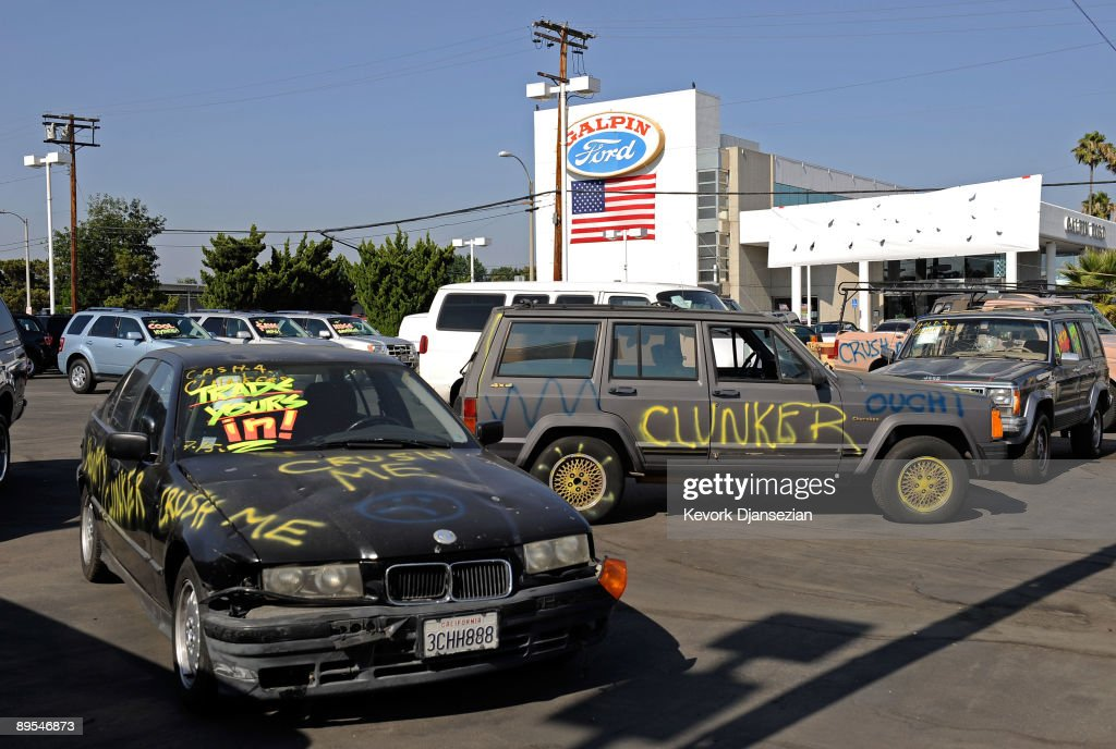 Cars traded in as part of the federal 'Cash For Clunkers' program are parked at the Galpin Ford dealership on July 31, 2009 in Los Angeles, California. Shares of Ford Motor Co. rose Friday as investors expressed enthusiasm for the increased vehicle demand under the 'Cash for Clunkers' program which Congress is rushing to expand. Federal lawmakers are seeking an additional $2 billion to keep the popular program going after the initial $1 billion in funding ran out after a week.