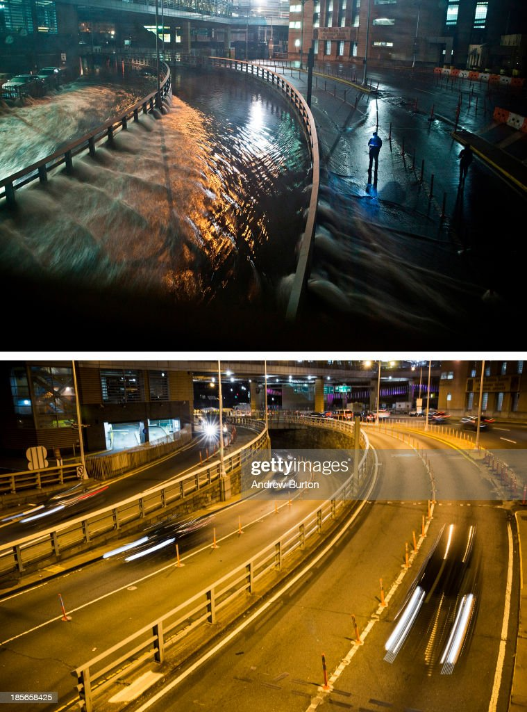 Rising water caused by Superstorm Sandy rushes into the Carey Tunnel (previously known as the Brooklyn Battery Tunnel) October 29, 2012 in New York City. NEW YORK, NY - OCTOBER 22: (bottom) Cars use the Carey Tunnel October 22, 2013 in New York City. Hurricane Sandy made landfall on October 29, 2012 near Brigantine, New Jersey and affected 24 states from Florida to Maine and cost the country an estimated $65 billion.