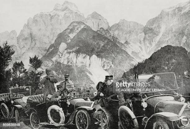 Cars with on board General Carlo Porro and Colonel Maurice Gamelin and Generals Joseph Joffre and Luigi Cadorna Carniche Alps ItalySlovenia World War...