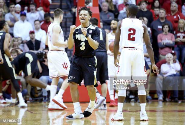 Carsen Edwards of the Purdue Boilermakers celebrates during the game against the Indiana Hoosiers at Assembly Hall on February 9 2017 in Bloomington...