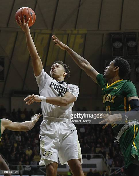 Carsen Edwards of the Purdue Boilermakers shoots the ball as Stavian Allen of the Norfolk State Spartans defends at Mackey Arena on December 21 2016...