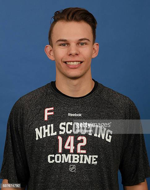 Carsen Twarynski poses for a headshot at the 2016 NHL Combine on June 2 2016 at Harborcenter in Buffalo New York
