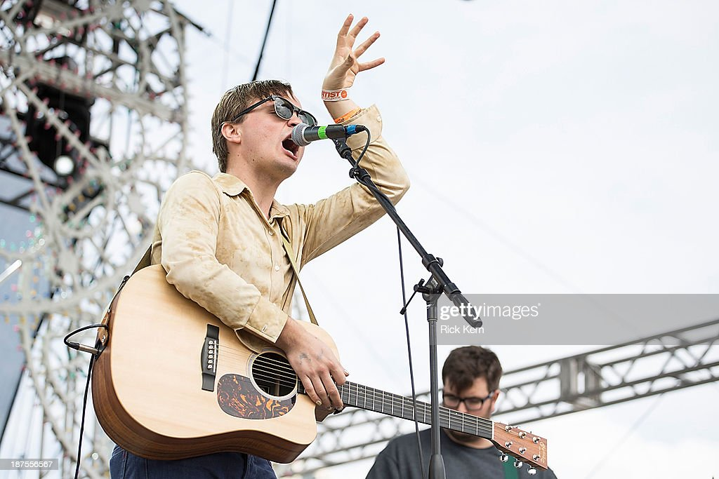Carson Cox of Merchandise performs on stage during Day 2 of Fun Fun Fun Fest at Auditorium Shores on November 9, 2013 in Austin, Texas.