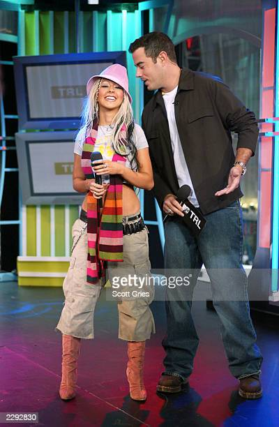 Carson Daly and Christina Aguilera during 'Spankin' New Music Week' on TRL at the MTV studios in New York City 11/4/02 Photo by Scott Gries/Getty...