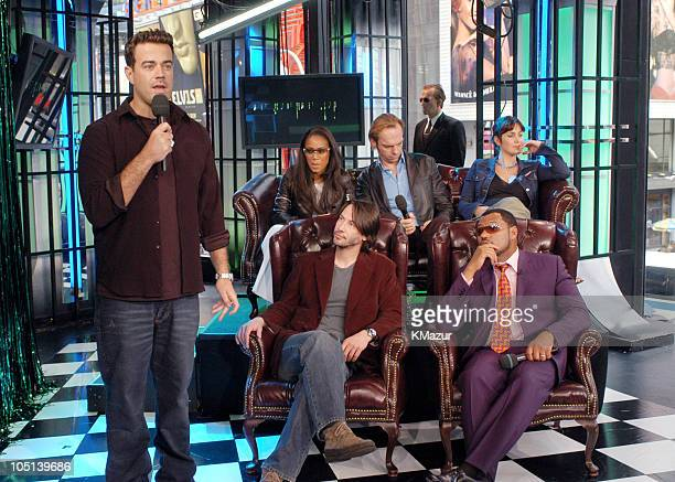 Carson Daly Jada Pinkett Smith Keanu Reeves Hugo Weaving CarrieAnne Moss and Laurence Fishburne