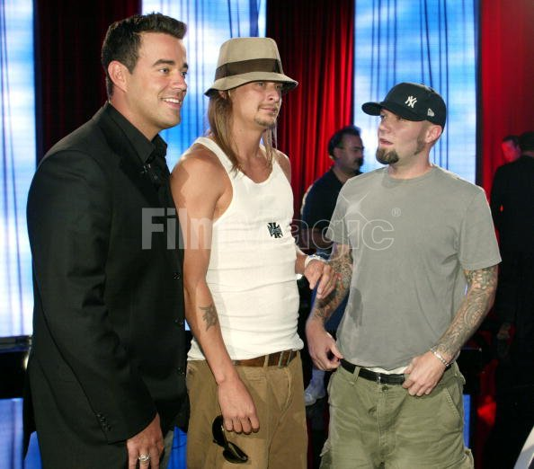 carson daly kid rock and fred durst during mtv bash