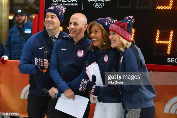 Carson Daly Matt Lauer Hoda Kotb and Megyn Kelly of NBC's Today Show pose for a photo during the 100 Days Out 2018 PyeongChang Winter Olympics...