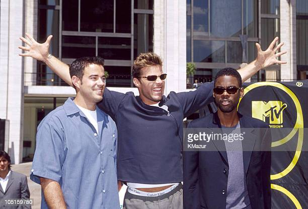 Carson Daly Ricky Martin and Chris Rock during MTV Video Awards Press Conference at Metropolitan Opera House in New York New York United States