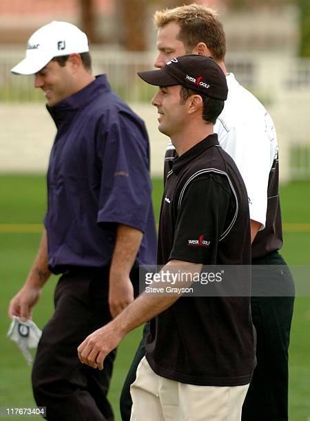 Carson Daly Roger Clemens and Mike Weir in action at the PGA Tour's 45th Bob Hope Chrysler Classic Pro Am at Bermuda Dunes Country Club
