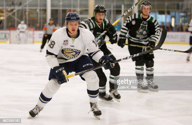 Carson Dimoff of the Sioux Falls Stampede skates during the game against the Cedar Rapids RoughRiders on Day 2 of the USHL Fall Classic at UPMC...