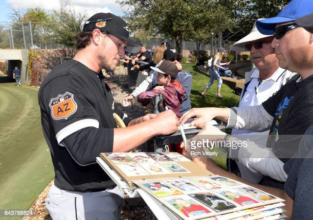 Carson Fullmer the Chicago White Sox signs autographs during spring training workouts on February 20 2017 at Camelback Ranch in Glendale Arizona