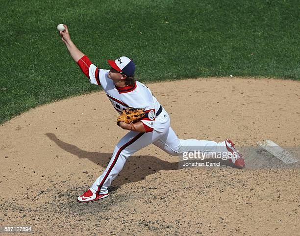 Carson Fulmer of the Chicago White Sox pitches against the Baltimore Orioles at US Cellular Field on August 7 2016 in Chicago Illinois The Orioles...