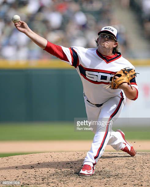 Carson Fulmer of the Chicago White Sox pitches against the Baltimore Orioles on August 7 2016 at US Cellular Field in Chicago Illinois The Orioles...