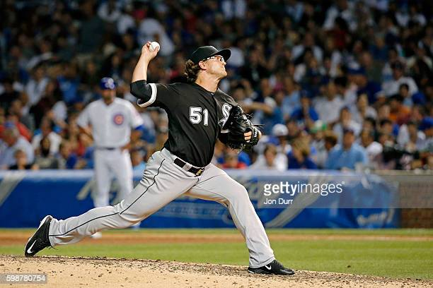 Carson Fulmer of the Chicago White Sox pitches against the Chicago Cubs during the seventh inning at Wrigley Field on July 27 2016 in Chicago...