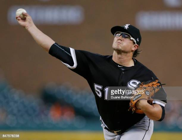 Carson Fulmer of the Chicago White Sox pitches against the Detroit Tigers during the second inning at Comerica Park on September 15 2017 in Detroit...