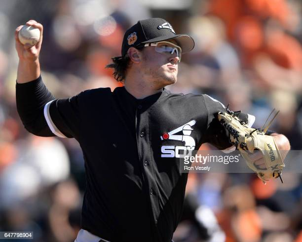 Carson Fulmer of the Chicago White Sox pitches during the spring training game against the San Francisco Giants on March 3 2017 at Scottsdale Stadium...