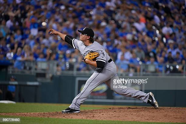 Carson Fulmer of the Chicago White Sox throws against the Kansas City Royals at Kauffman Stadium on August 11 2016 in Kansas City Missouri