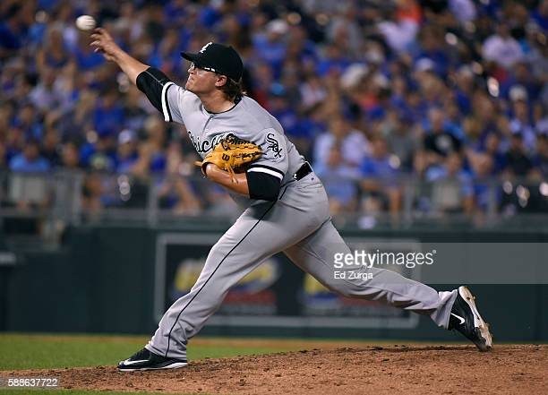 Carson Fulmer of the Chicago White Sox throws in the fifth inning against the Kansas City Royals at Kauffman Stadium on August 11 2016 in Kansas City...