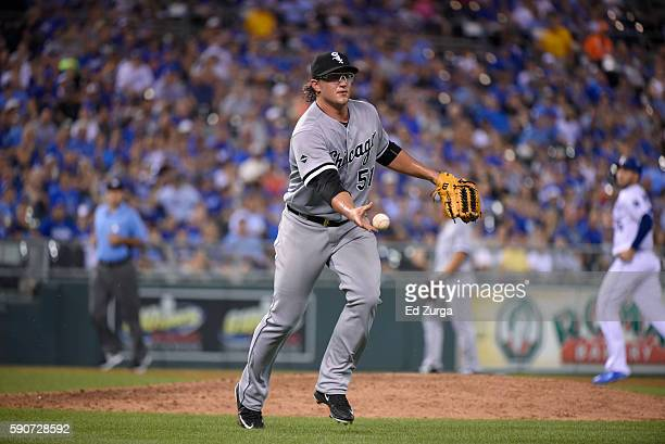 Carson Fulmer of the Chicago White Sox throws to first against the Kansas City Royals at Kauffman Stadium on August 11 2016 in Kansas City Missouri