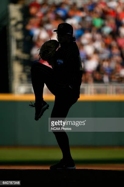 Carson Fulmer of Vanderbilt University pitches against the University of Virginia during the Division I Men's Baseball Championship held at TD...