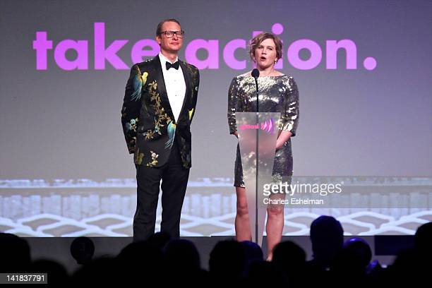 Carson Kressley and Tracy Gold announce a winner at the 23rd Annual GLAAD Media Awards at the Marriott Marquis Hotel on March 24 2012 in New York City
