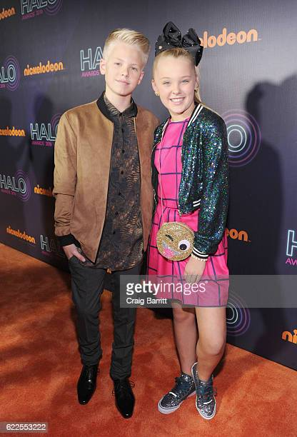 Carson Lueders and JoJo Siwa attend the 2016 Nickelodeon HALO awards at Basketball City Pier 36 South Street on November 11 2016 in New York City