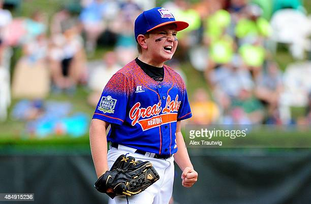 Carson Myers of the Great Lakes team from Bowling Green Eastern Little League of Bowling Green Kentucky reacts during the game against the Northwest...