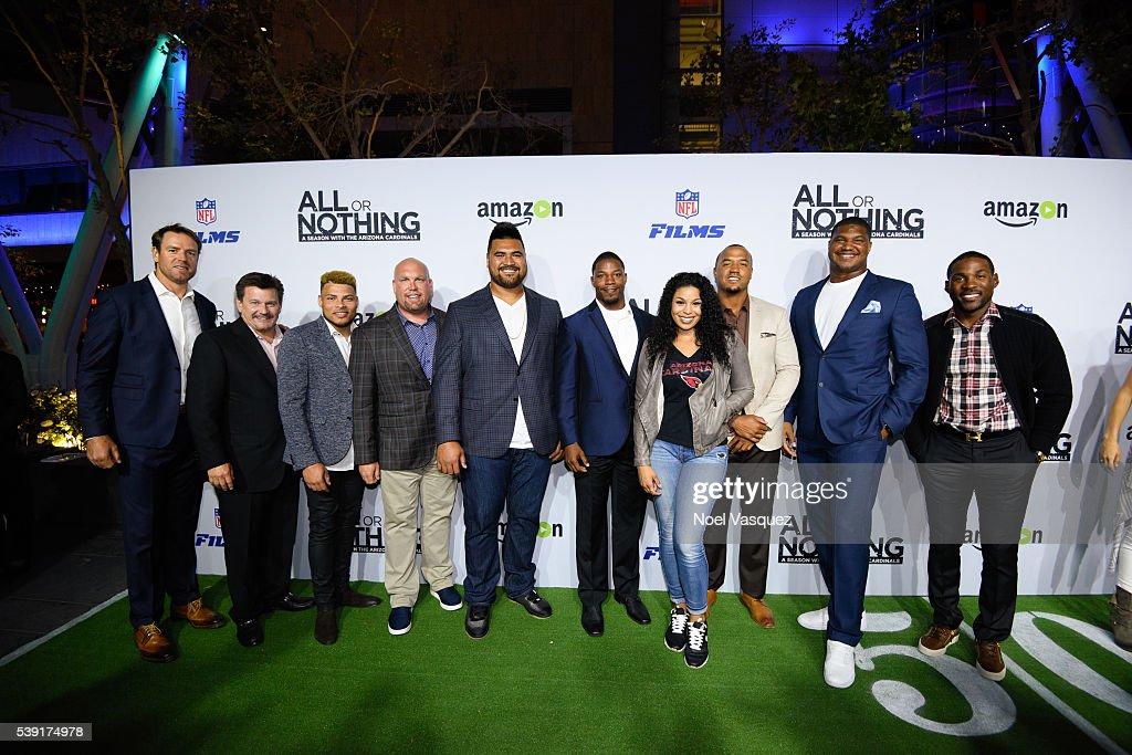<a gi-track='captionPersonalityLinkClicked' href=/galleries/search?phrase=Carson+Palmer&family=editorial&specificpeople=202556 ng-click='$event.stopPropagation()'>Carson Palmer</a>, Michael Bidwill, <a gi-track='captionPersonalityLinkClicked' href=/galleries/search?phrase=Tyrann+Mathieu&family=editorial&specificpeople=7173040 ng-click='$event.stopPropagation()'>Tyrann Mathieu</a>, <a gi-track='captionPersonalityLinkClicked' href=/galleries/search?phrase=Steve+Keim&family=editorial&specificpeople=10733552 ng-click='$event.stopPropagation()'>Steve Keim</a>, <a gi-track='captionPersonalityLinkClicked' href=/galleries/search?phrase=Mike+Iupati&family=editorial&specificpeople=4485173 ng-click='$event.stopPropagation()'>Mike Iupati</a>, David Johnson, <a gi-track='captionPersonalityLinkClicked' href=/galleries/search?phrase=Jordin+Sparks&family=editorial&specificpeople=4165535 ng-click='$event.stopPropagation()'>Jordin Sparks</a>, Michael Floyd, <a gi-track='captionPersonalityLinkClicked' href=/galleries/search?phrase=Calais+Campbell&family=editorial&specificpeople=2109853 ng-click='$event.stopPropagation()'>Calais Campbell</a> and <a gi-track='captionPersonalityLinkClicked' href=/galleries/search?phrase=Patrick+Peterson&family=editorial&specificpeople=5582456 ng-click='$event.stopPropagation()'>Patrick Peterson</a> attend the premiere of 'All or Nothing' at Regal Cinemas L.A. Live on June 9, 2016 in Los Angeles, California.