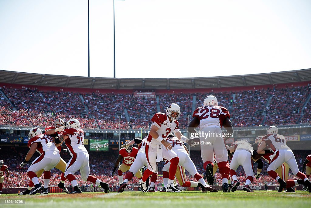 <a gi-track='captionPersonalityLinkClicked' href=/galleries/search?phrase=Carson+Palmer&family=editorial&specificpeople=202556 ng-click='$event.stopPropagation()'>Carson Palmer</a> #3 of the Arizona Cardinals in action against the San Francisco 49ers at Candlestick Park on October 13, 2013 in San Francisco, California.