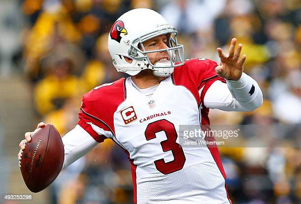 Carson Palmer of the Arizona Cardinals makes a pass during the 1st quarter of the game against the Pittsburgh Steelers at Heinz Field on October 18...