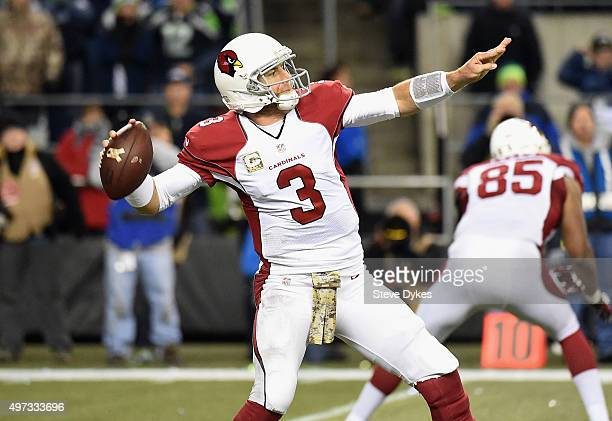 Carson Palmer of the Arizona Cardinals throws an incomplete pass during the second half against the Seattle Seahawks at CenturyLink Field on November...