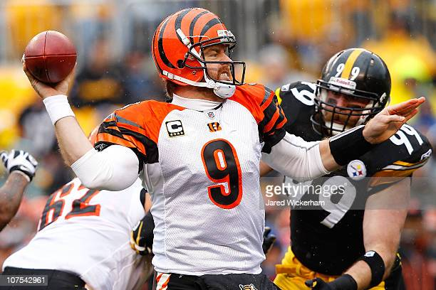 Carson Palmer of the Cincinnati Bengals drops back to pass against the Pittsburgh Steelers during the game on December 12 2010 at Heinz Field in...