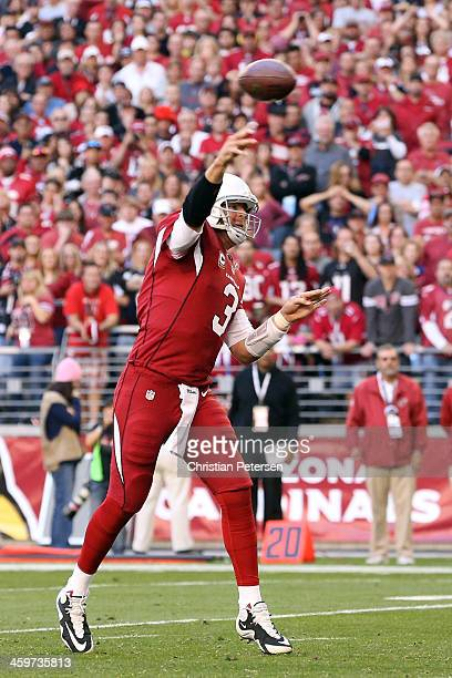 Carson Palmer throws a 1 yard touchdown turnover Jake Ballard of the Arizona Cardinals against the San Francisco 49ers in first half during a game at...