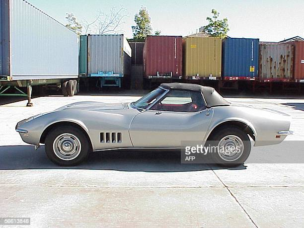 A 1968 Corvette Stingray is pictured during a presss conference 17 January 2006 in Carson California after it was reunited with a stunned US motoring...