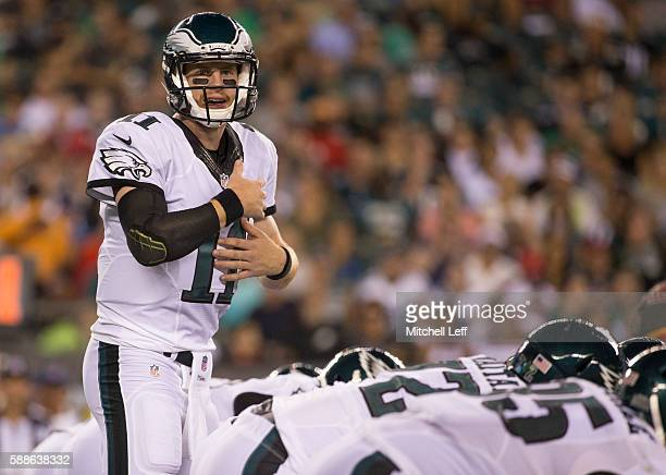 Carson Wentz of the Philadelphia Eagles calls an audible at the line of scrimmage in the third quarter against the Tampa Bay Buccaneers at Lincoln...