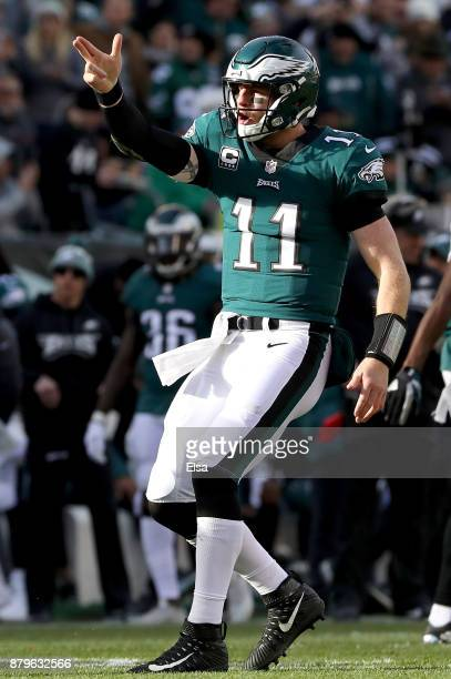 Carson Wentz of the Philadelphia Eagles celebrates his first down carry in the second quarter against the Chicago Bears on November 26 2017 at...
