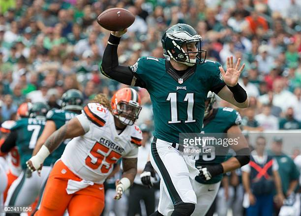 Carson Wentz of the Philadelphia Eagles passes the ball against Danny Shelton of the Cleveland Browns in the first quarter at Lincoln Financial Field...