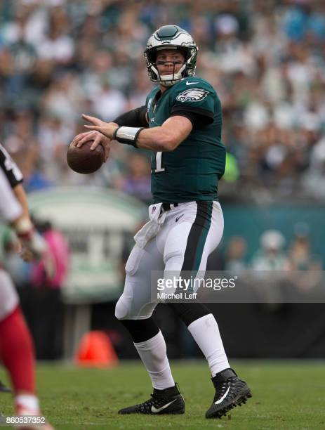 Carson Wentz of the Philadelphia Eagles passes the ball against the Arizona Cardinals at Lincoln Financial Field on October 8 2017 in Philadelphia...