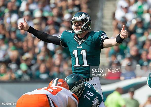 Carson Wentz of the Philadelphia Eagles plays against the Cleveland Browns at Lincoln Financial Field on September 11 2016 in Philadelphia...