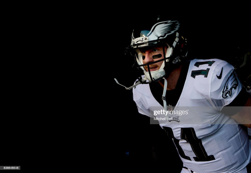Carson Wentz #11 of the Philadelphia Eagles runs onto the field prior to the preseason game against the Miami Dolphins at Lincoln Financial Field on August 24, 2017 in Philadelphia, Pennsylvania.